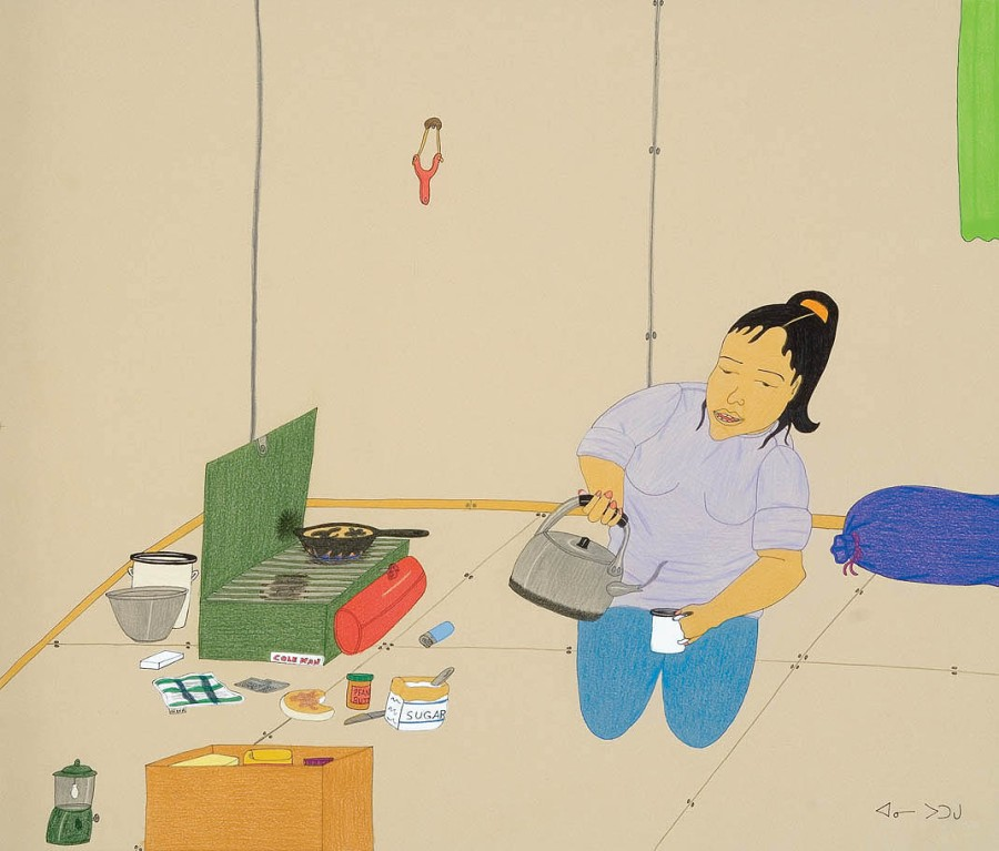 annie-pootoogook_woman-making-tea_wax-crayon-graphite-felt-tip-pen_2006